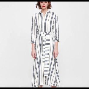 Zara Linen Stripe Shirt Dress